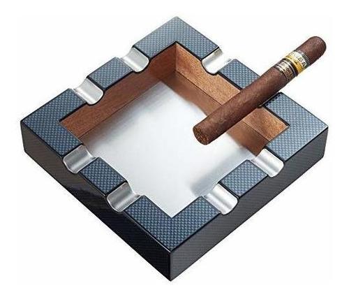 cenicero de cigarro con patrón de fibra de carbono visol br
