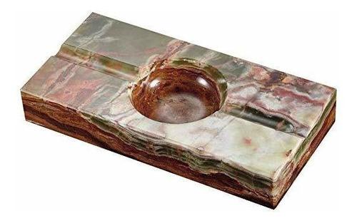 cenicero de cigarro de piedra de ónix con rectángulo azul c