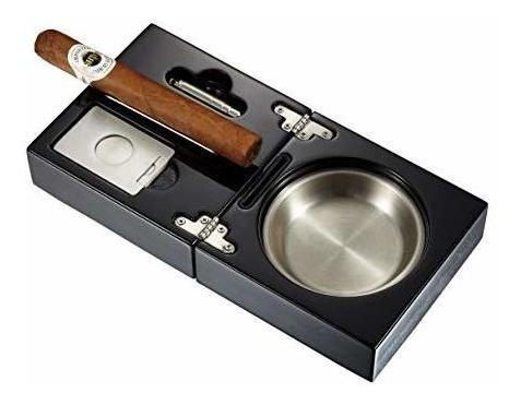 cenicero de cigarro plegable de laca negra visol bremen con