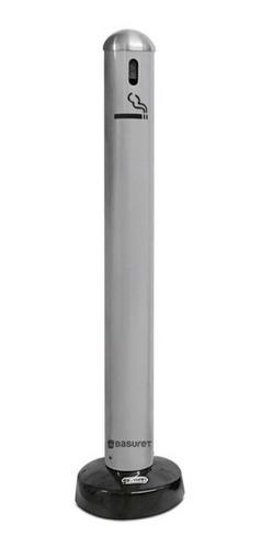 cenicero de pie de acero para exterior color gris plata