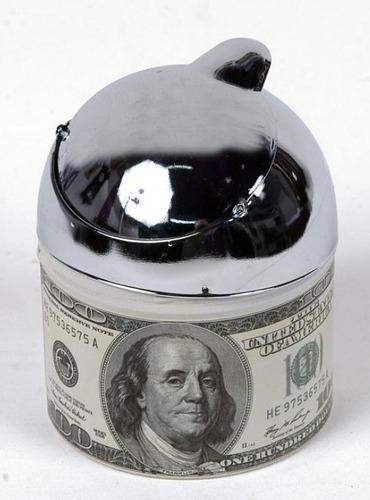cenicero dolar tragacolillas lata con tapa con volcador