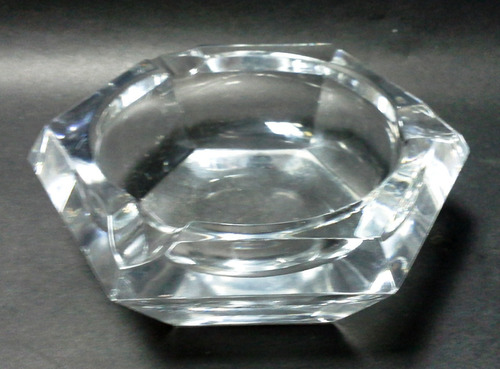 cenicero fino cristal transparente hexagonal