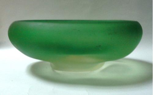 cenicero verde cristal murano opaco muy grande años 60s