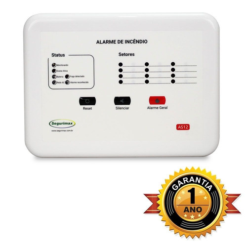central alarme incêndio 12 setores +bateria frete grátis c2.