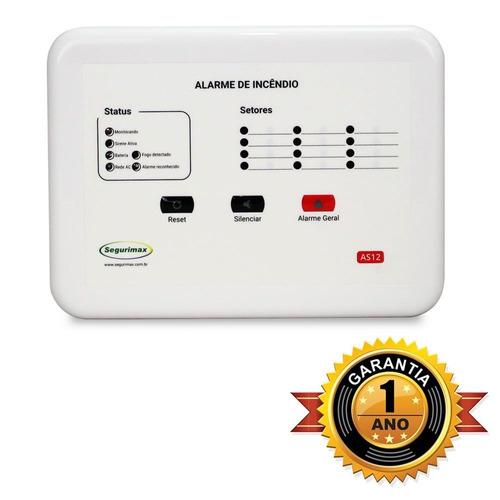 central alarme incêndio 12 setores +bateria melhor preço c5.