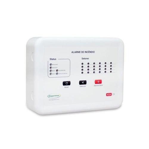 central alarme incêndio 12 setores + bateria promoção c1