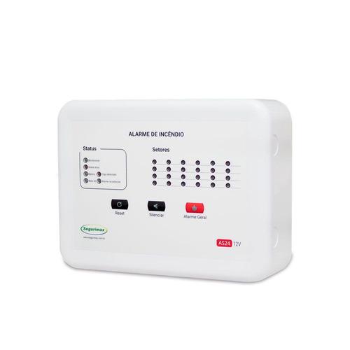 central alarme incêndio 12 setores + bateria promoção p1