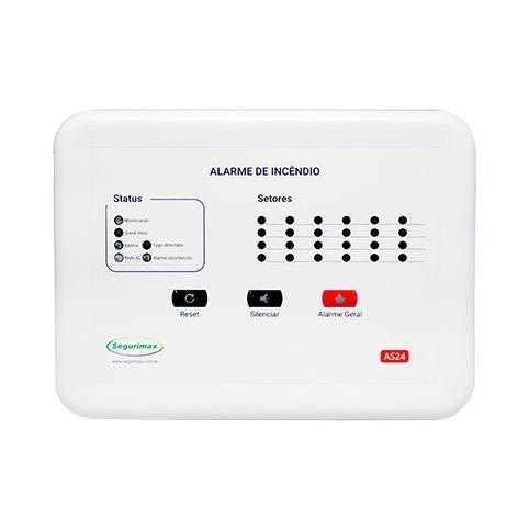 central de alarme 24 setores 12v com bateria branco segurimax