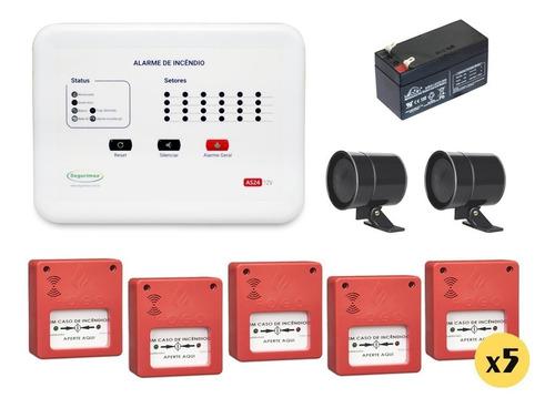 central incêndio 12 setor+5 acionador+5 sirene+7 detector