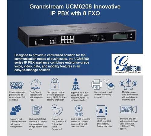 central ip pbx grandstream ucm6208 8 fxo 2 fxs 100 llamadas