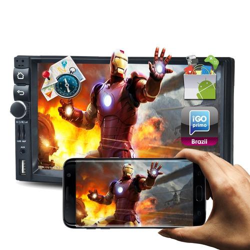 central multimídia android e gps wifi espelhamento bluetooth