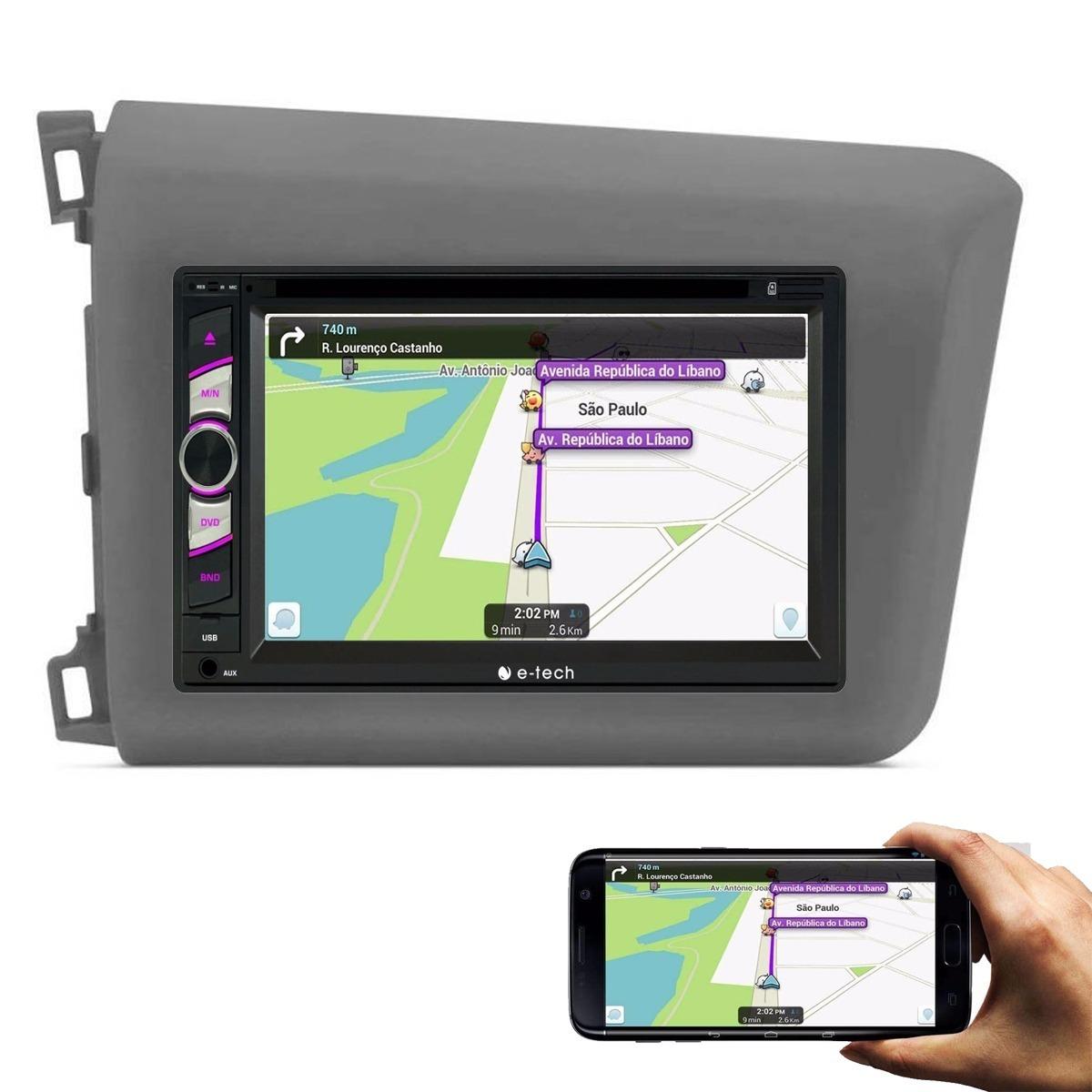 Central Multimidia Bluetooth New Civic Espelhamento Waze