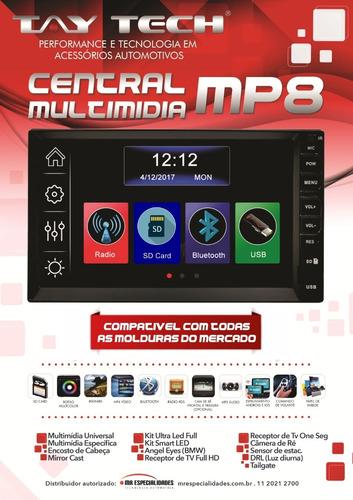 central multimidia bt mp8 spacefox 11/13 +cam+moldura+brinde