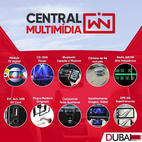 central multimídia dvd fiat punto câmera moldura original