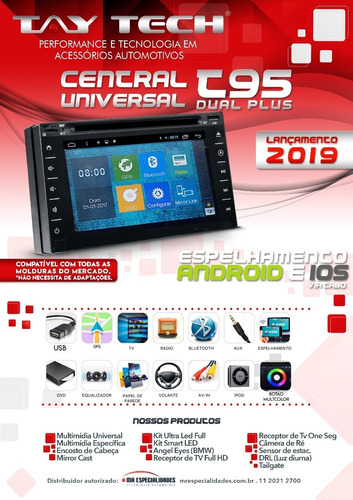 central multimidia dvd universal taytech t95 gps tv bt espelhamento android 9.0 e ios 12.4