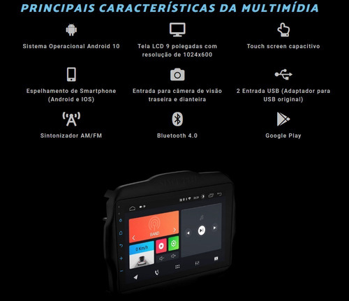 central multimídia renegade 2016 a 2021 android 10 bluetooth