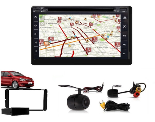 central multimidia tv gps etios +moldura+câm+brinde