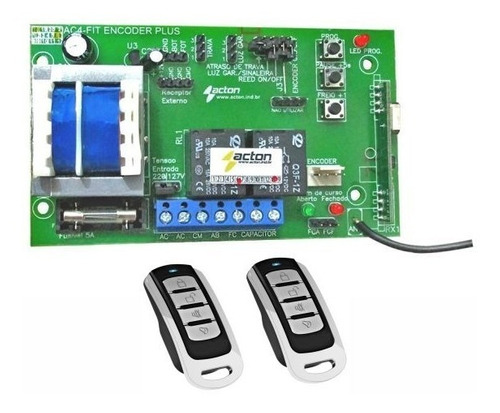 central portão ac4 fit pa encoder acton 2 controles cromados