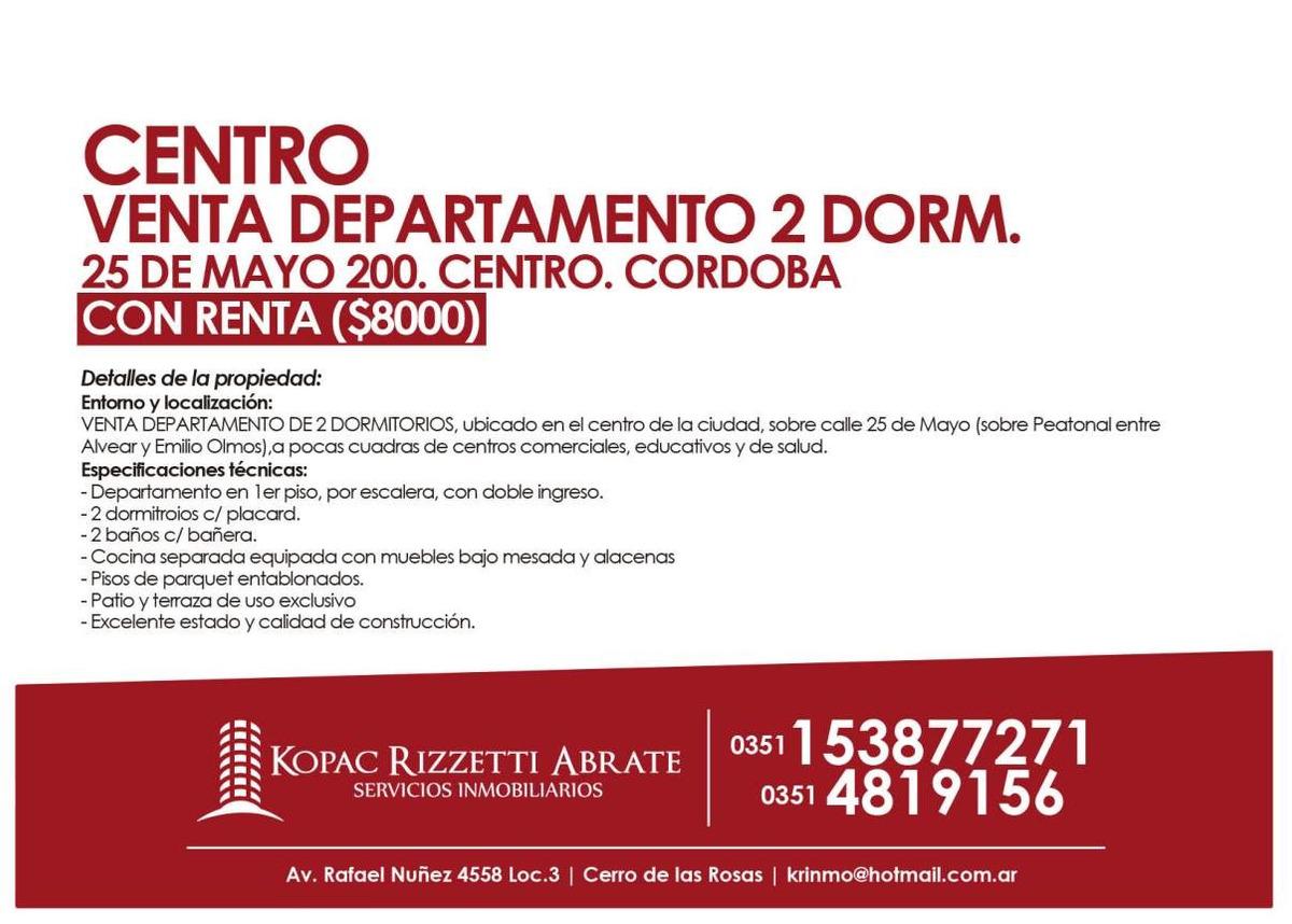 centro (25 de mayo 200) - venta departamento 2 dorm
