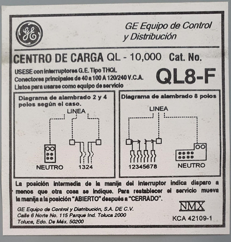 centro de carga general electric ql8-f empotrable