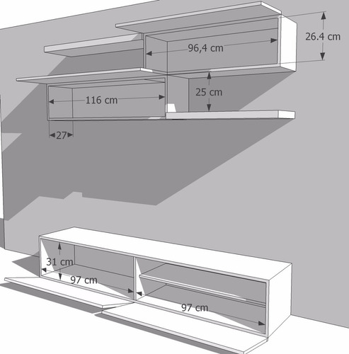centro de entretenimiento en madera lacada ref: toto