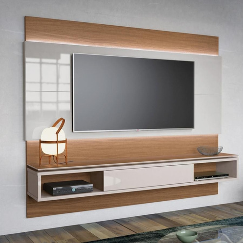 centro de entretenimiento madera y blanco lacado ref mural38