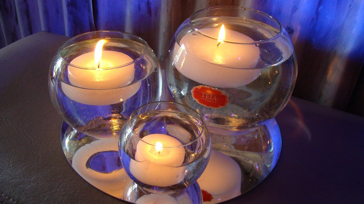 centro de mesa peceras velas flotantes promo trio