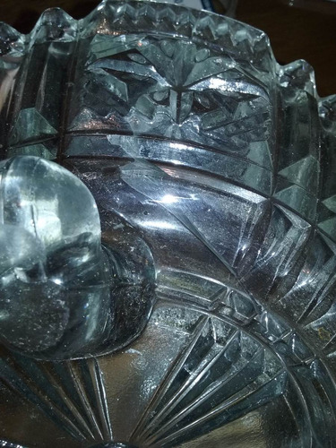 centro de mesa antiguo vidrio prensado