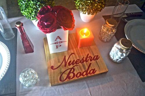 centro de mesa boda madera aluzza