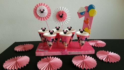 centro de mesa chupetero fiesta infantil minnie mouse