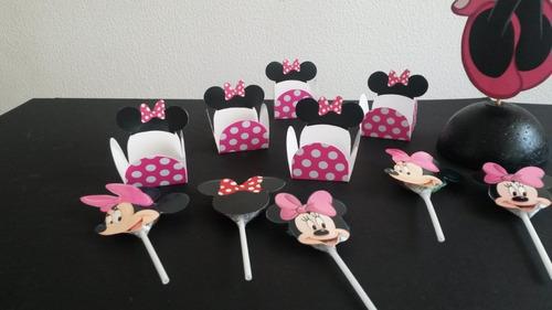 centro de mesa, chupeteros fiesta infantil minnie mouse