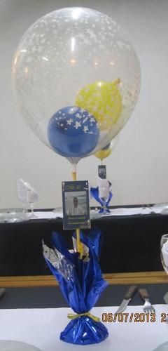 centro de mesa con globos cumpleaños comunion bautismo boca