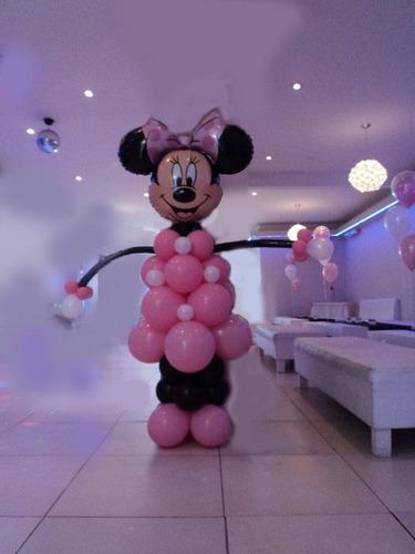centro de mesa con globos o souvenir minnie mickey