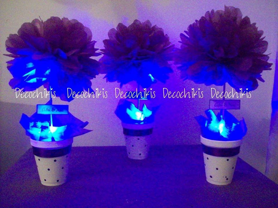 centro de mesa con luz led 15 a os bodas eventos