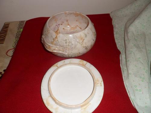 centro de mesa con tapa !!! loza simil marmol !!!