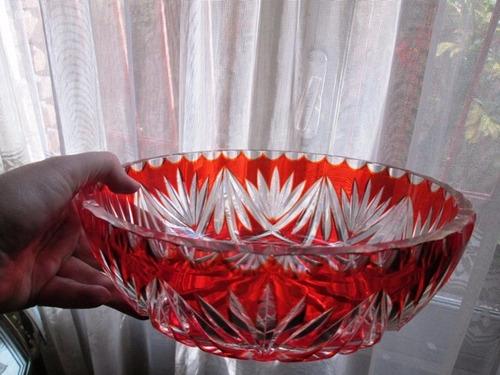 centro de mesa cristal bohemia rubi impecable