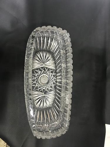 centro de mesa cristal bohemia tallado con estrella pesado