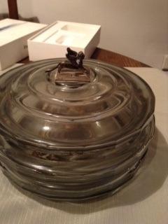 centro de mesa cristal con leon alado en plata 900 arriba