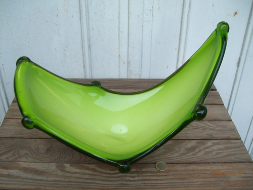 centro de mesa cristal de murano verde