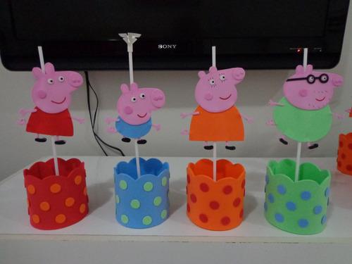 centro de mesa da peppa pig, george, mamãe e papai pig
