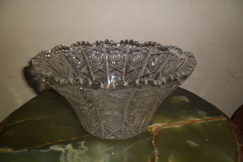 centro de mesa de cristal checoeslovaco