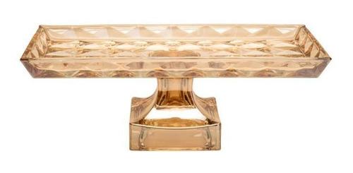 centro de mesa de cristal  c/pé diamant âmbar 35x17,5x12,5cm