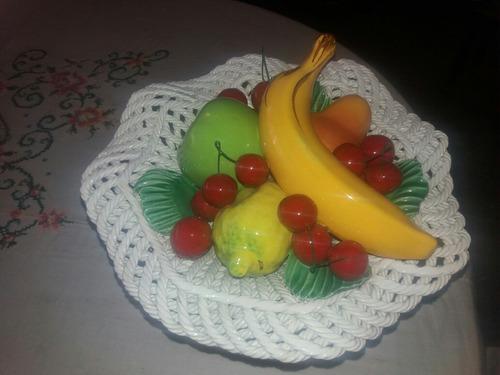 centro de mesa de frutas porcelana antigua italiana