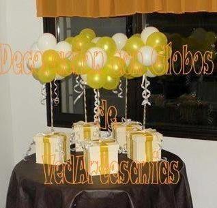 Centro De Mesa Decoracion Con Globos Topiario Y Caja Madera 125 - Decorar-centro-de-mesa