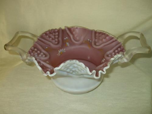 centro de mesa em opalina rosa - antigo