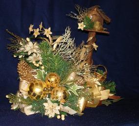 Centro De Mesa En Dorado Arreglo De Navidad