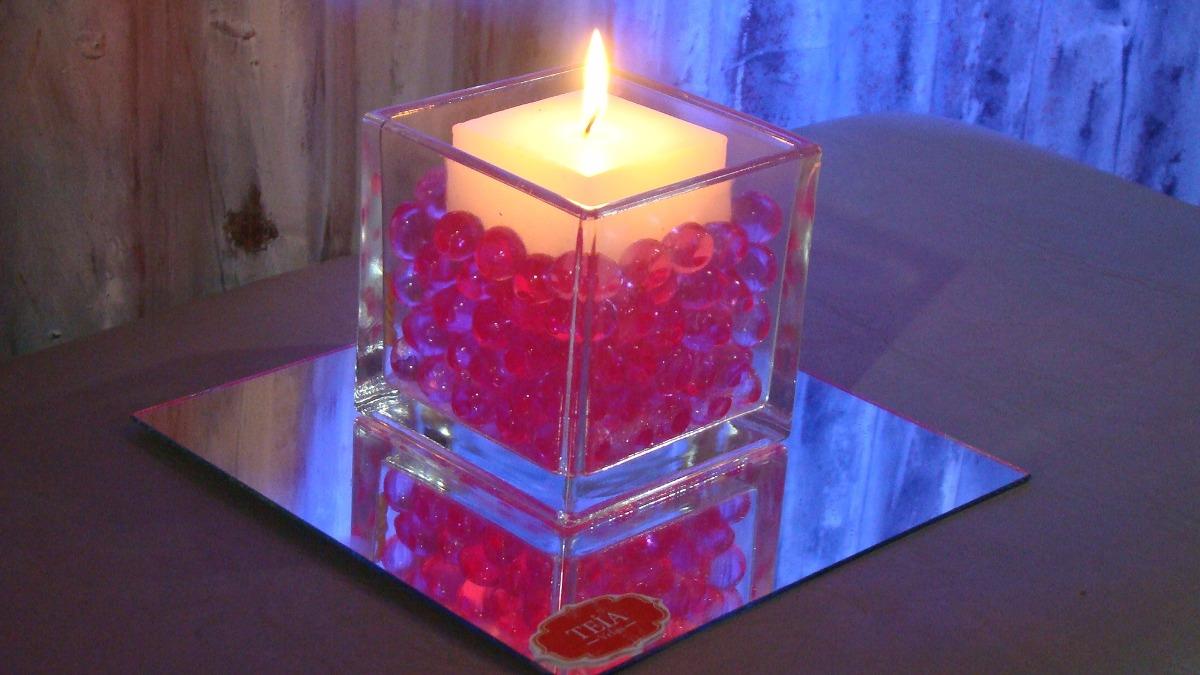 centro de mesa fanal vela hidrogel espejo teia velas
