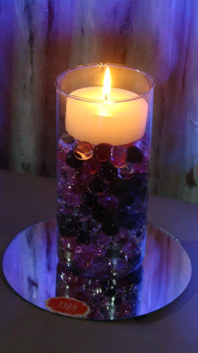 centro de mesa florero vela hidrogel espejo teia velas