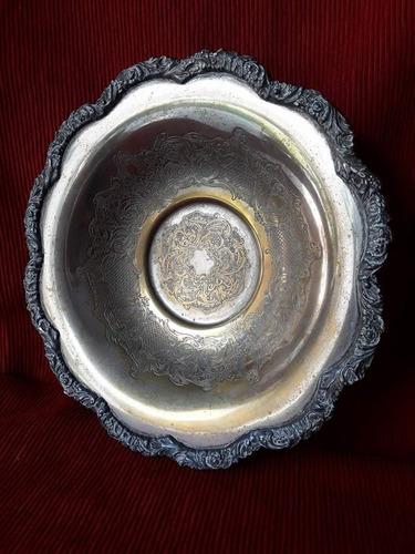 centro de mesa - frutera - metal plateado.
