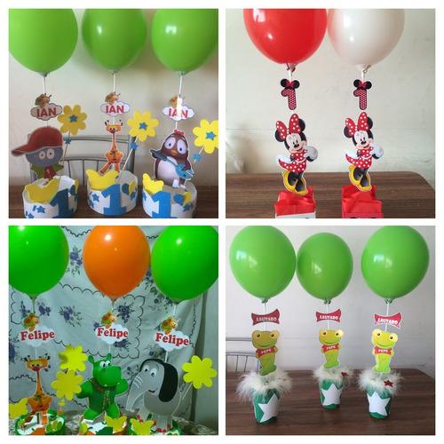 centro de mesa infantil, con base y globos